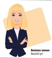 Young cartoon businesswoman wearing business style clothing vector