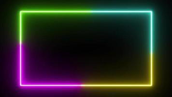 Fond de rectangle coulant de couleur néon quatre couleurs video