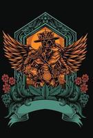 plague doctor cyborg emblem vector