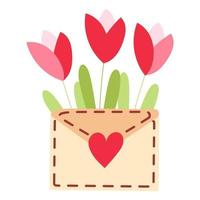 Cute envelope with flowers and plants inside and sending love lettering Spring flowers bouquet Love letter flat vector illustration