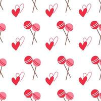 Seamless colored pattern with candies and hearts vector illustration