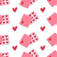 vector de patrones sin fisuras con románticas cajas de dulces en forma de corazón para feliz día de San Valentín en blanco símbolos de amor lindo fondo para diseño imprimir tarjeta de envoltura tienda de fiesta de cumpleaños