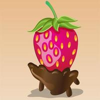Chocolate and Strawberry Food Illustration vector