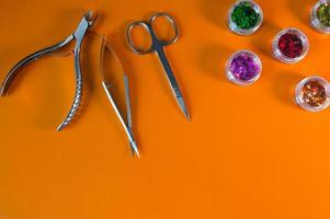 A set of cosmetic tools for manicure and pedicure closeup photo