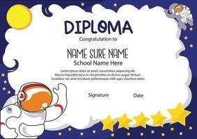 premio certificado astronout para niños de jardín de infantes en edad escolar y preescolar, diploma para niños vector
