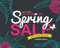 promoción de plantilla de banner de descuento de venta de primavera vector