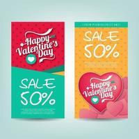 promoción de plantilla de banner de descuento de venta de san valentín vector