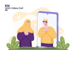pareja celebra eid mubarak con videollamada en línea, distanciamiento social o físico para reducir la propagación del coronavirus covid 19. Ramadán con videollamada en smartphone. perdonarse durante el eid vector