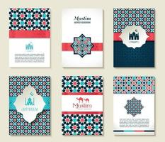Banners set of islamic. template design card. vector