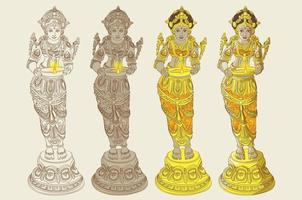 Traditional Ornamental Statue of Woman Standing with Lamp vector