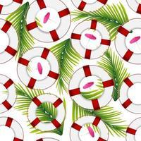 Verano textura fluida de salvavidas y hojas de palma para tu creatividad. vector
