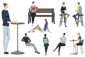 Set Of Fashionable People Taking A Break In Different Poses Isolated On A White Background vector