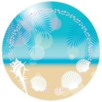Round Vector Summer Background Illustration With Sandy Beach And Shellfishes With Text Space Isolated On A White Background