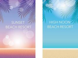Vector Summer Background Set With Sandy Beach And Blue Or Sunset Sky