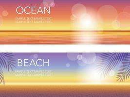 Seamless Vector Summer Background Set With Sandy Beach And Blue Sky And The Ocean