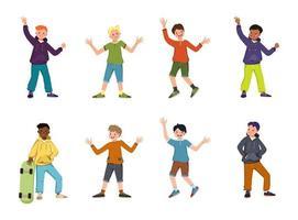 niños o adolescentes de diferentes nacionalidades, con cabello de color oscuro y rubio, rojo. niños felices con caras y sonrisas en sudaderas con capucha, camisetas, pantalones y pantalones cortos. gente negra y de piel clara. ilustración vectorial vector
