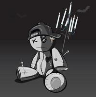 Black and white goth style voodoo doll with hat on vector