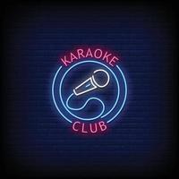 club de karaoke letreros de neón estilo texto vector
