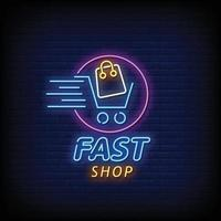 Fast Shop Neon Signs Style Text Vector