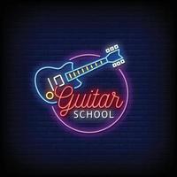Guitar School Neon Signs Style Text Vector