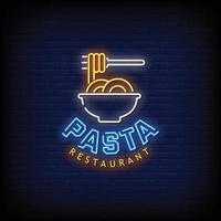 Pasta Restaurant Neon Signs Style Text Vector