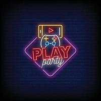 Play Party Neon Signs Style Text Vector