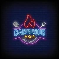 Barbecue Neon Signs Style Text Vector