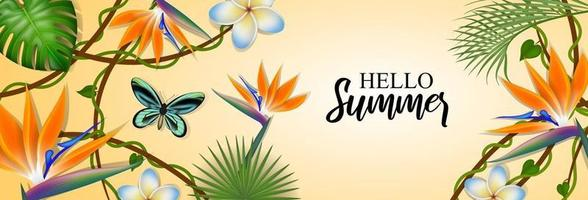 summer banner with exotic leaves and flowers vector