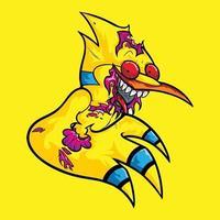 Zombie Bird Tshirt Design vector