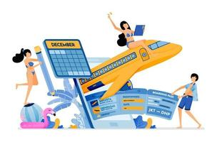 People buy flight tickets to bali with holiday agency mobile apps purchase of holiday tickets to tropical island illustration can be used for landing page banner website web poster brochure vector