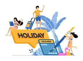 People choose year end dates for a vacation to tropical island beach holiday writing designs tropical banana plant illustration can be used for landing page banner website web poster brochure vector