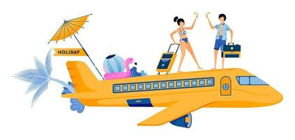 Man and woman boarding a plane for vacation to tropical island beach Couple honeymoon period during summer vacation Illustration can be used for landing page banner website web poster brochure vector