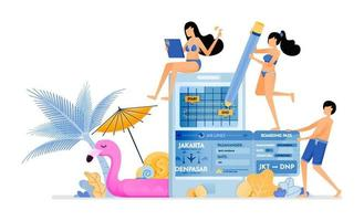 Choose flight ticket return schedule during summer vacation on tropical island Purchase tickets with mobile apps Illustration can be used for landing page banner website web poster brochure vector