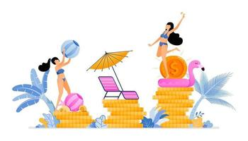 People on vacation and improve local economy and business in tourism industry sector Vacation for productivity Illustration can be used for landing page banner website web poster brochure vector