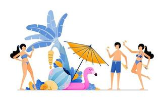 People on holiday to tropical island beach Tourist enjoying party in beauty maldives beach during summer vacation Illustration can be used for landing page banner website web poster brochure vector