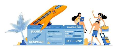 People invite friends to buy plane tickets for summer vacation to tropical island Purchase of tickets for holidays Illustration can be used for landing page banner website web poster brochure vector