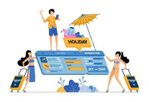 People choose flight tickets for a vacation to tropical island Isometric 3d ticket Creative holiday design concept Illustration can be used for landing page banner website web poster brochure vector