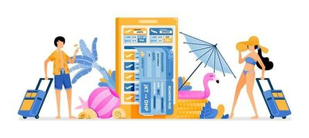 People choose flight tickets to tropical countries for summer vacation Mobile apps for purchasing airline tickets Illustration can be used for landing page banner website web poster brochure vector