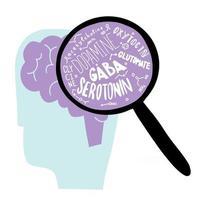 Un cerebro con una lupa con serotonina y otras neurohormonas, salud mental y feliz concepto y letras de neurotransmisores de diseño plano. vector