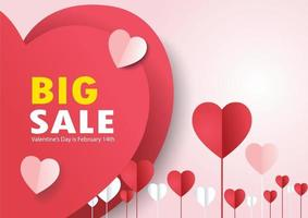 Paper heart shape with text in valentines day sale vector