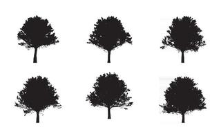 oak Tree silhouette vector set free illustrations
