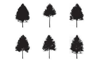 Aspen Tree silhouette set vector collection free