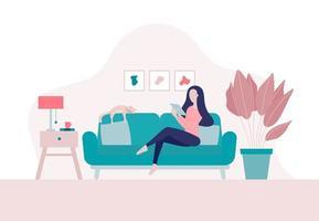 Mujer joven sentada y usando su dispositivo para conectarse a Internet en casa vector