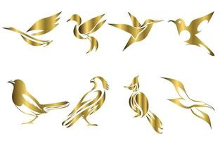 Set of gold vector images of various birds such as heron hummingbird magpie falcon seagull and Spigot bulbul Good use for symbol mascot icon avatar and logo