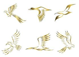 Set of six gold vector images of various birds flying such as pheasant seagull mallard crane hornbill and macaw Good use for symbol mascot icon avatar and logo
