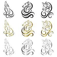 El vector de arte lineal de lobo se puede usar para hacer un logotipo o elementos decorativos, hay tres colores, oro negro y plata.