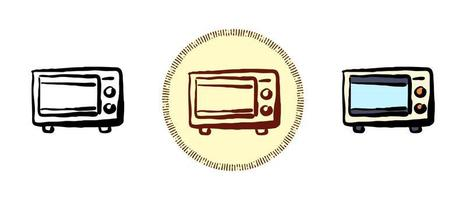 Outline and color and retro symbols of a microwave oven vector