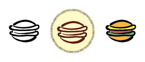 Contour and color and retro symbols of cheeseburger vector