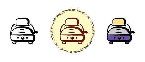contorno y color y símbolos de tostadora retro vector