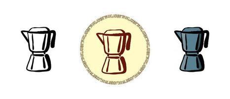 contorno y color y símbolos retro de una cafetera géiser vector